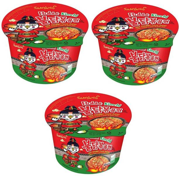 Samyang Big Bowl Buldak Kimchi Hot Chicken Flavour Raman Cup Noodle, 105mg*3 Pack (Pack of 3) (Imported) Cup Noodles Non-vegetarian