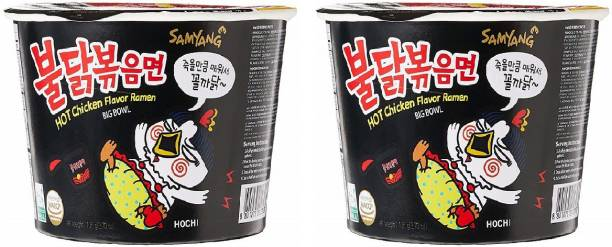 Samyang Big Bowl Stir Fried Hot Chicken Flavour Raman Cup Noodle, 105mg*2 Pack (Pack of 2) (Imported) Cup Noodles Non-vegetarian