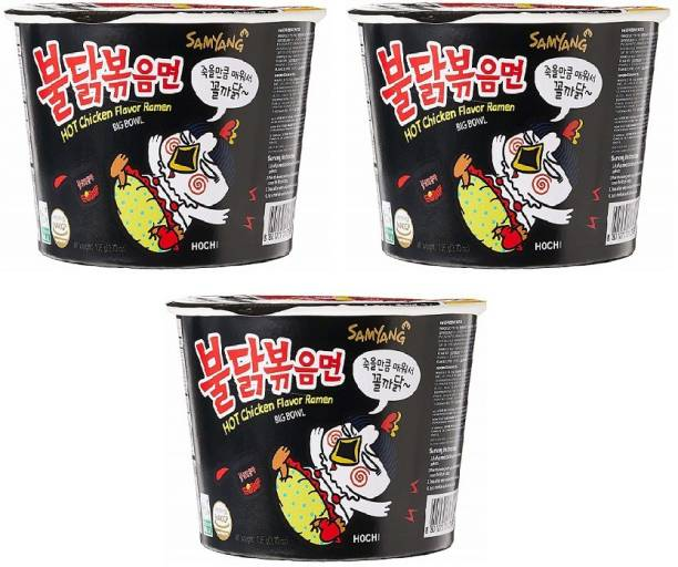 Samyang Big Bowl Stir Fried Hot Chicken Flavour Raman Cup Noodle, 105mg*3 Pack (Pack of 3) (Imported) Cup Noodles Non-vegetarian