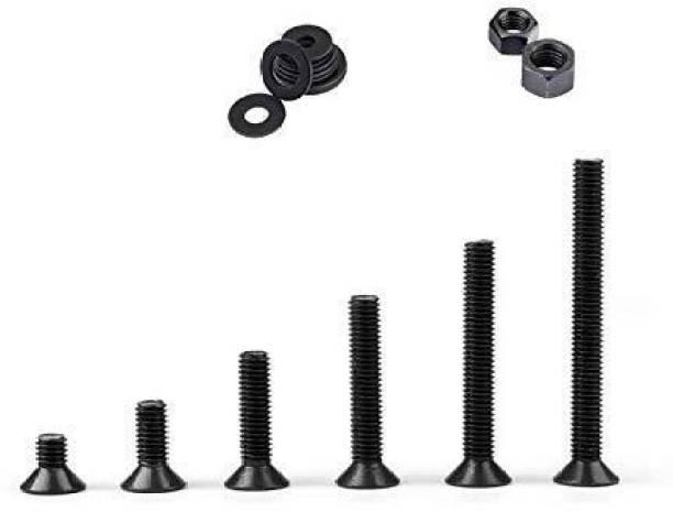GSK Cut Nut & Bolt Set M4 Allen CSK Bolt Screw, Nut & Washer 6 Size (6mm, 8mm, 10mm, 12mm, 16mm, 20mm) Each 10 Pcs, With 60 pcs Nut & 60 pcs Washer – Pack of 180 Pcs