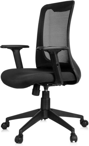 MBTC Ciara Medium Back Office Chair with Synchro Mechanism and Adjustable Arms Natural Fiber Office Arm Chair