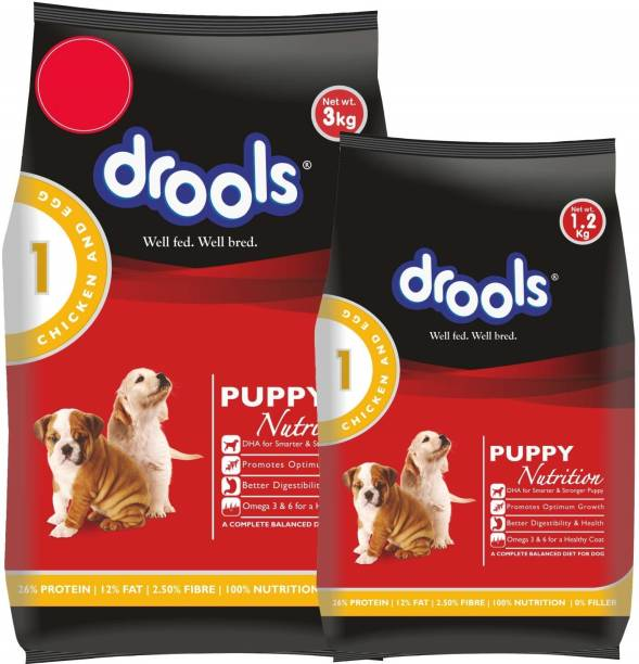 drools 1.2 kg Dog Food with Drools 3 kg Chicken and Egg 4.2 kg (2x2.1 kg) Dry Young Puppy Food