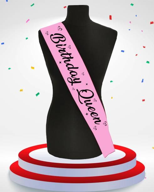 Style Secrets Shimmering Satin Ballerina pink Birthday Queen Sash for Birthday Girls, Babies and Ladies