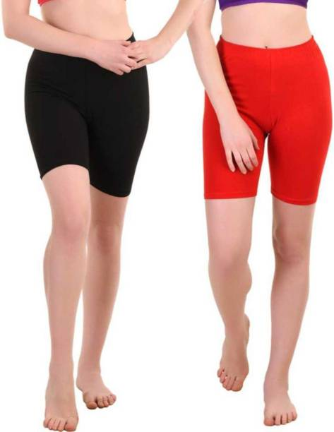 Apraa & Parma Solid Women Black, Red Cycling Shorts