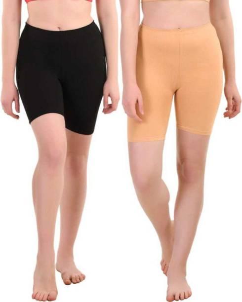 Apraa & Parma Solid Women Black, Beige Cycling Shorts