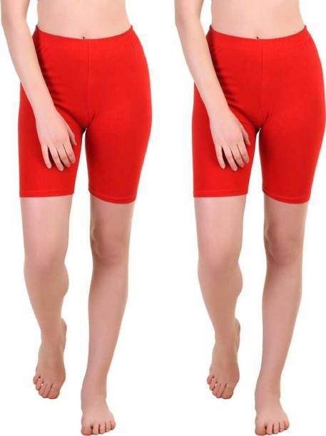 Apraa & Parma Solid Women Red Cycling Shorts