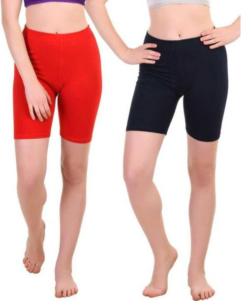 Apraa & Parma Solid Women Red, Blue Cycling Shorts