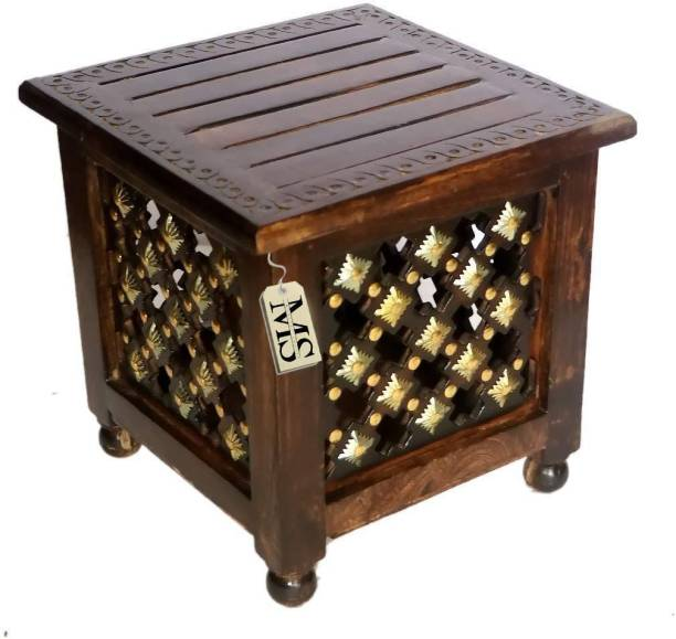manzees Beautiful Antique Wooden Stool with Brass Cutting Design Storage Stool for Living Room, Office and Bedroom Furniture (Brown, 12 X 12 X 12 Inches) Solid Wood Corner Table