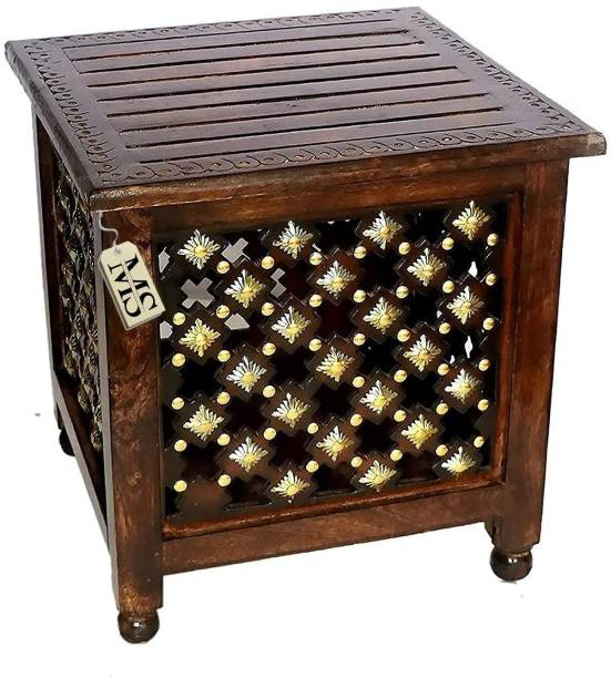 manzees Beautifull Antique Wooden Storage Stool with Brass Cutting Design Storage Stool for Living Room, Office and Bedroom Furniture (Brown, 15 X 15 X 15 Inches) Solid Wood Corner Table