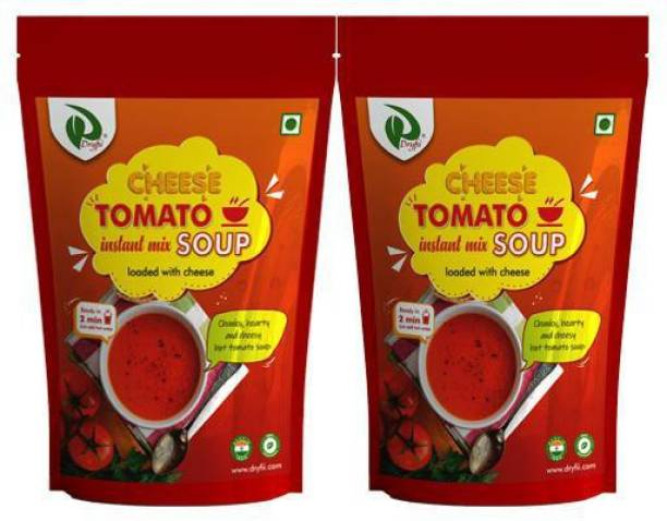 Dryfii Instant Cheese Tomato Soup Premix Pack of 2 (100X2) With Natural Vegetables, No Added Preservatives