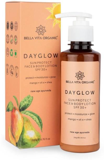 Bella vita organic Day Glow Face & Body Sunscreen Lotion SPF 30+ For All Skin Types Ayurveda with Mango, Vitamin E & Shea Butter - SPF 30+