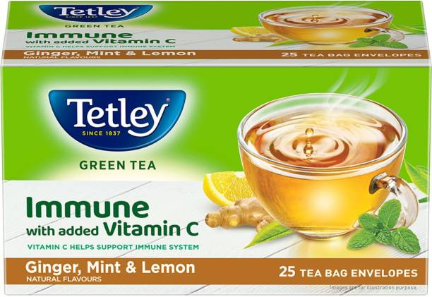 tetley Lemon, Ginger, Mint Green Tea Bags Box