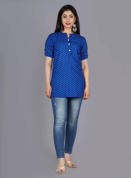 TRENDS WOW Casual Regular Sleeve Printed Women Blue Top