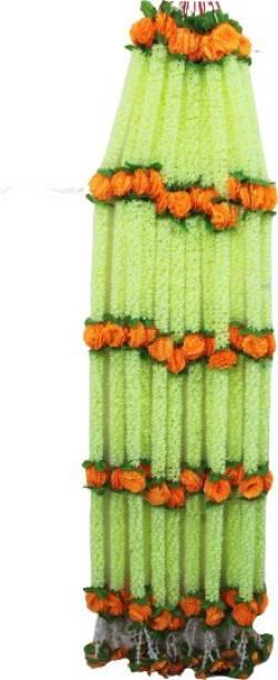 Petalicious Petalicious Festive Mogra Strings (Ladi) (Pack of 6 Strings) (6ft.) Green, Orange Jasmine Artificial Flower