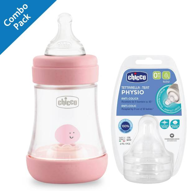 Chicco F.BOTTLE PERFECT5 PP GRL/TEATS PERFECT 5 0M+ SLOW SIL 2 PCS Combo
