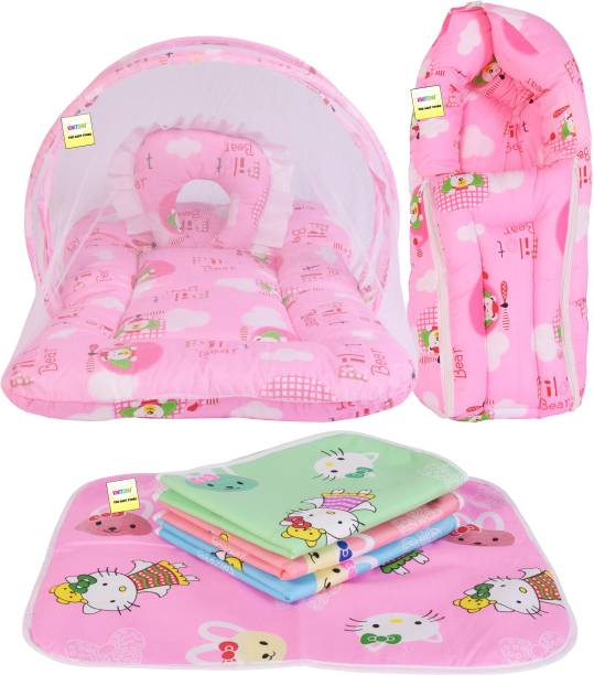 Kwitchy New Born Baby Mosquito Net Bed with Cushioned Pillow and Sleeping bag and Bed Protector