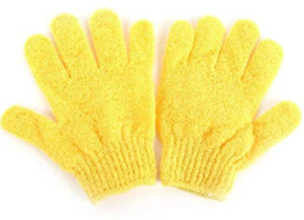 LOWPRICE Exfoliating Dual Texture Bath Gloves for Shower, Spa, Massage and Body Scrubs, Dead Skin Cell Remover, Gloves with hanging loop (1 Pair Heavy Glove)