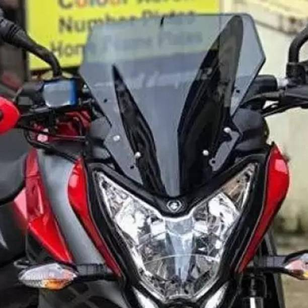Sms traders FZS Black Tinted Long Windshield BK10 Bike Headlight Visor