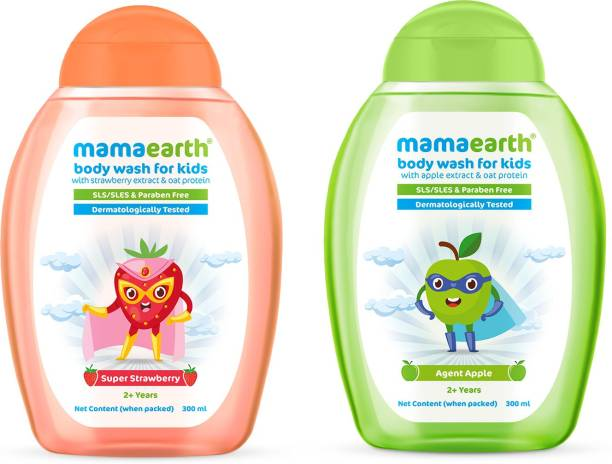 MamaEarth Apple + Strawberry Body Wash For Kids with Orange & Oat Protein (300 ml X 2)