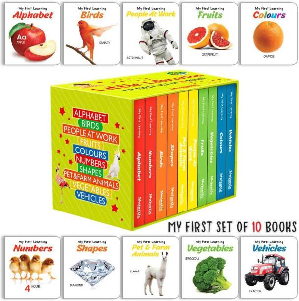 Majestic My First Library - boxset of 10 board books to Develop Basic Concepts for Little Scholars. Well-Researched Pictures Ensure Faster Development of a Child's Vocabulary. (English, Hardcover, unknown) - First Mini Library of 10 Board Books to Develop Basic Concepts for Little Scholars. Well-Researched Pictures Ensure Faster Development of a Child's Vocabulary.