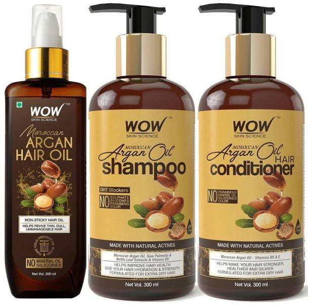 WOW SKIN SCIENCE Ultimate Moroccan Argan Oil Hair Kit - Shampoo - Conditioner - Hair Oil