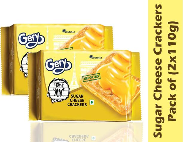 Gery Gone Mad Sugar Cheese Crackers - Crispy Biscuit Snack with Cheese Spread - Each Pack Contains 5 Pairs Crackers (110 Grams x Pack of 2)