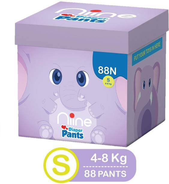 niine Cottony Soft Baby Diaper Pants with Wetness Indicator and Disposal Tape, MEGA BOX, Small Size - S