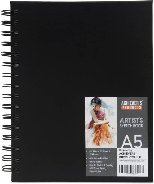ACHIEVER'S PRODUCTS A5 Sketchbook 120 GSM | Spiral Sketch Pad | 60 Sheets - 120 pages | Sketching, Drawing & Creative Doodling Pads for Kids & Adults (Set of 1) A5 Note Pad Ruled 120 Pages