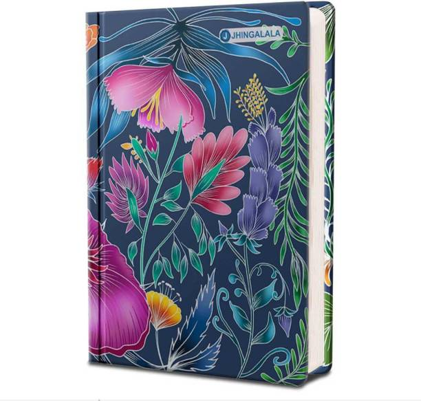 Jhingalala Wild Blossom Hard Bound Undated A5 Diary Notebook (20 X 14.5 CM, 80 GSM, 190 Ruled Perforated Pages) Diary for Writing, Gift for Friend, Personal Diary A5 Diary Ruled 190 Pages