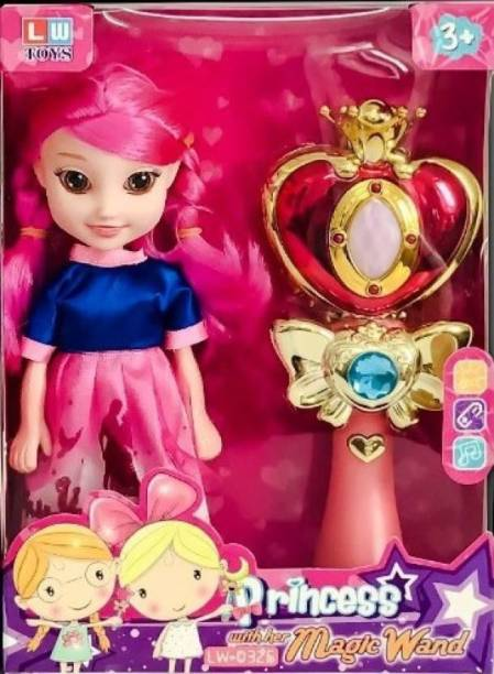 WONDER CREATURES Doll with Magical Wand for Girls with Light & Sound Toys for Babies ( Pink ) (Multicolor)