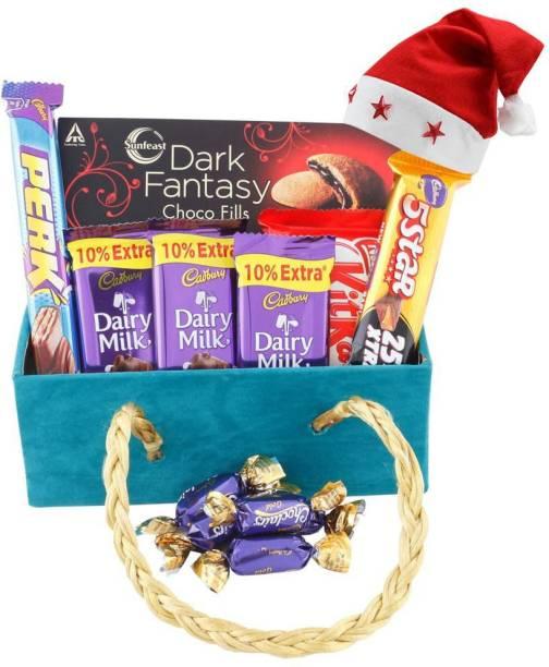 Cadbury Premium Chocolate Celebration With Beautiful Wooden Basket| Chocolate Gift for Christmas | 233 Combo