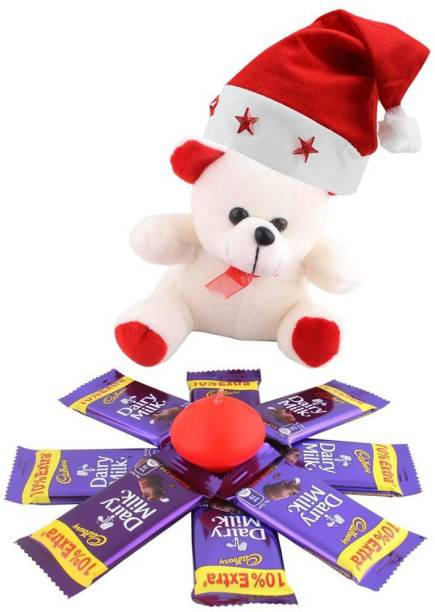 Cadbury Dairy Milk Chocolates With Candle & Cute Teddy | Chocolate Gift For Christmas | 509 Combo