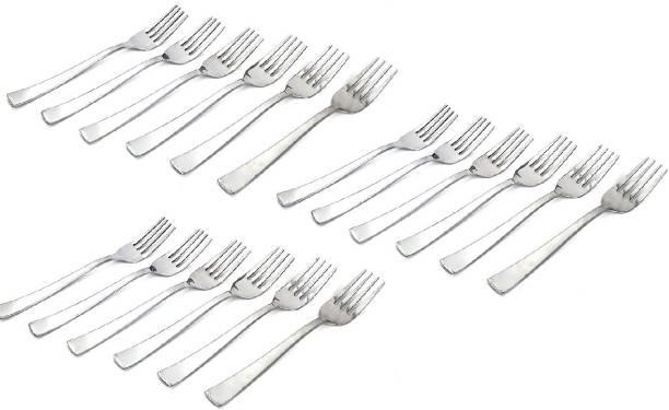 Solomon ™ Premium Quality Stainless Steel | Fork Spoon & Tea Spoon | Table Spoon | Fruit Fork Spoon & Tea Spoon | Medium Dinner | Cutlery Set | Dinner Fork Spoon & Tea Spoon | Food Grade Stainless Steel | Pack of,18 (Silver) Stainless Steel Dinner Fork Set