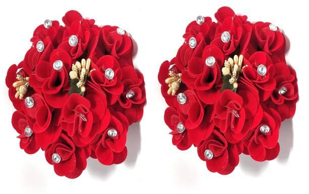 BELLA HARARO Artificial Rose Flower Gajra Juda Hair Bun Red Colo Rose -Gajra-pack-of-2 Bun