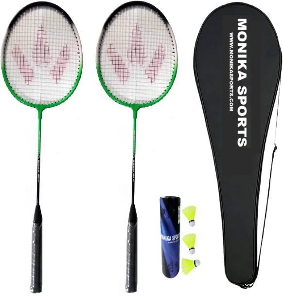 Monika Sports 2000 Combo 2 Pc Single SHaft Racquet with 3 Nylon Shuttle & Cover Badminton Kit