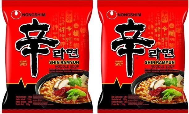 Nongshim Shin Ramyun Instant Noodles 120gm*2 Pack (Pack of 2) (Imported) Instant Noodles Vegetarian