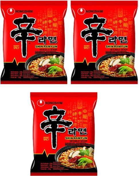 Nongshim Shin Ramyun Instant Noodles 120gm*3 Pack (Pack of 3) (Imported) Instant Noodles Vegetarian