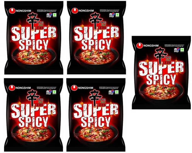 Nongshim Red Super Spicy Instant Noodles 120gm*5 Pack (Pack of 5) (Imported) Instant Noodles Vegetarian