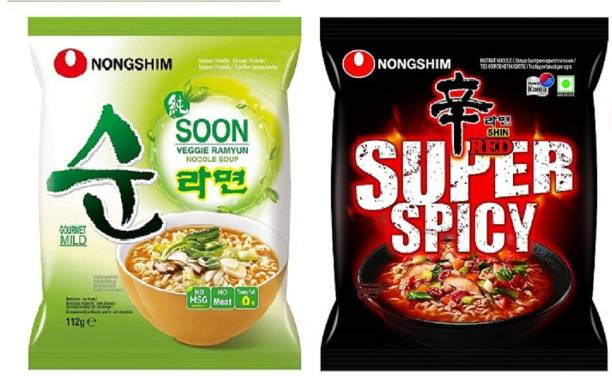 Nongshim Red Super Spicy & Shin Soon Veggie Instant Noodles 120gm*2 Pack (Pack of 2 Multi-Pack) (Imported) Instant Noodles Vegetarian
