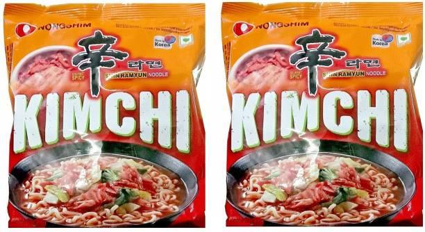 Nongshim Shin Ramyun Kimchi Instant Noodles 120gm*2 Pack (Pack of 2) (Imported) Instant Noodles Vegetarian
