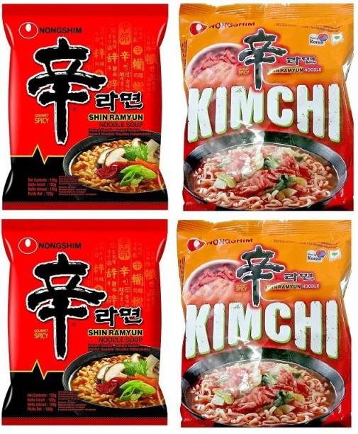 Nongshim Red Super Spicy, Shin Ramyun & Shin Kimchi Instant Noodles 120gm*3 Pack (Pack of 3 Multi-Pack) (Imported) Instant Noodles Vegetarian