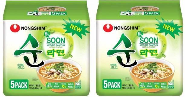 Nongshim Shin Soon Veggie Instant Korean Noodles 112gm*10 Pack ( 5 Pack X 2 Combo ) (Imported) Instant Noodles Vegetarian