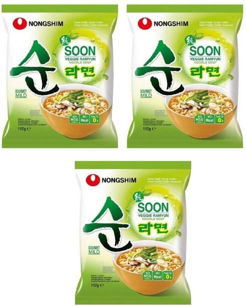 Nongshim Shin Soon Veggie Instant Korean Noodles 112gm*3 Pack (Pack of 3 ) (Imported) Instant Noodles Vegetarian
