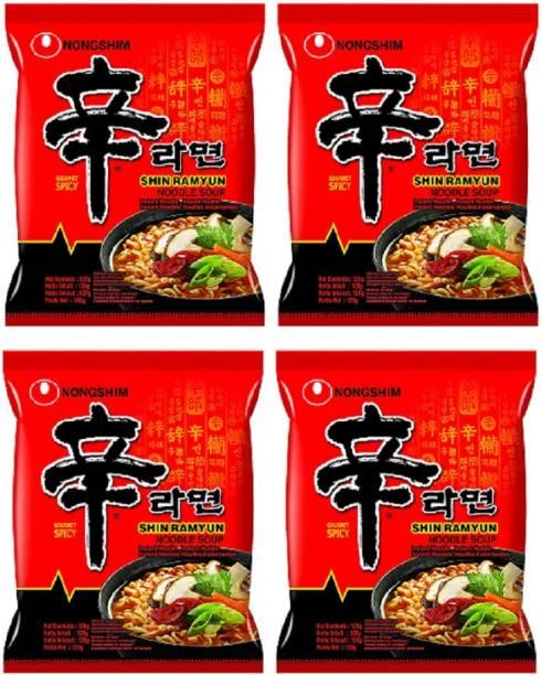 Nongshim Shin Ramyun Instant Noodles 120gm*4 Pack (Pack of 4) (Imported) Instant Noodles Vegetarian