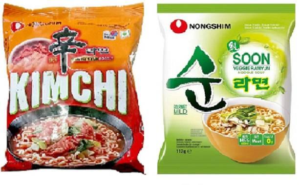 Nongshim Shin Kimchi & Soon Veggie Instant Noodles 120gm*2 Pack (Pack of 2) (Imported) Instant Noodles Vegetarian