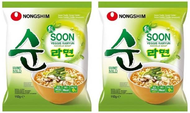 Nongshim Shin Soon Veggie Instant Korean Noodles 112gm*2 Pack (Pack of 2 ) (Imported) Instant Noodles Vegetarian