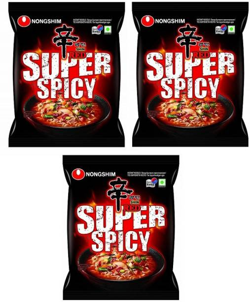 Nongshim Red Super Spicy Instant Noodles 120gm*3 Pack (Pack of 3) (Imported) Instant Noodles Vegetarian