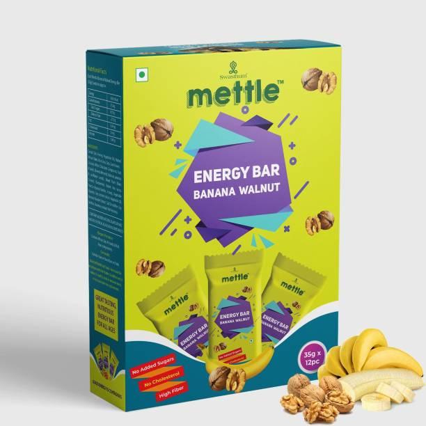 mettle Banana Walnut Energy Bar 35 g. Pack of 12 Energy Bars