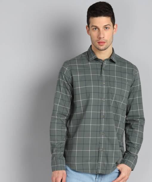 Blackberrys Men Checkered Casual Green Shirt