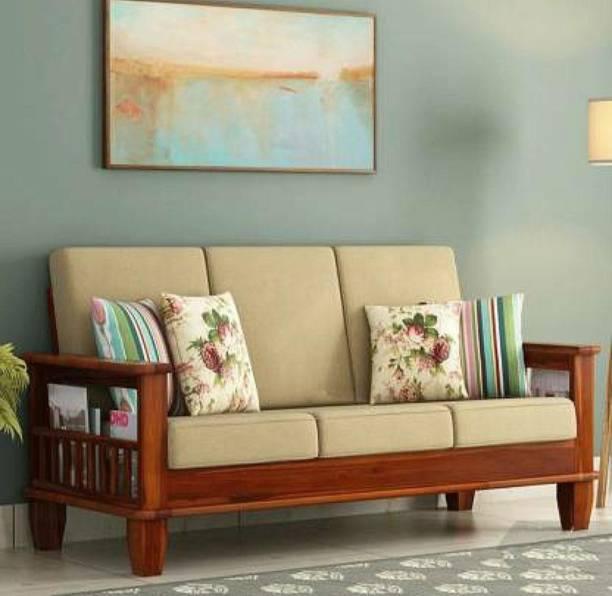 Shreya Decor Solid Wood 3 Seater Wooden Sofa set Fabric 3 Seater  Sofa